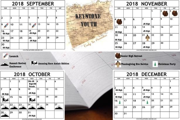 2018 Fall Calendar